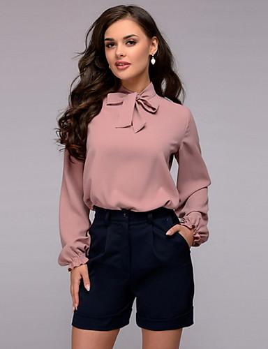 billige Dametopper-Bluse Dame - Ensfarget Chic & Moderne Rosa