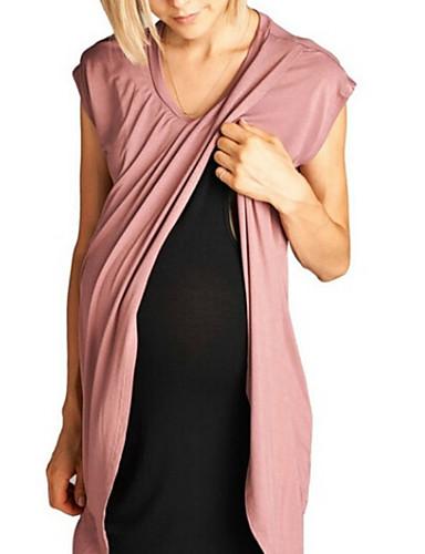 Capace Per Donna Essenziale Elegante T Shirt A Tunica Vestito - Collage, Tinta Unita Al Ginocchio #07257280