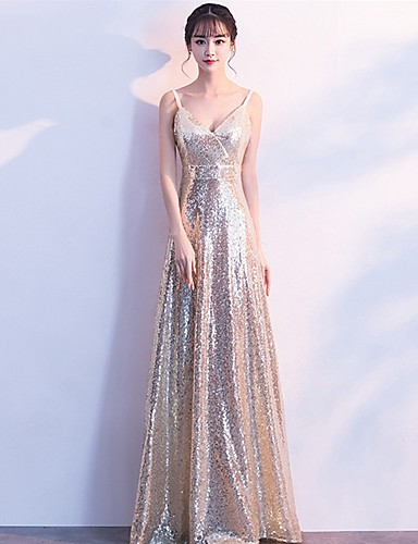 789a757ea3 A-Line V Neck Floor Length Sequined Bridesmaid Dress with Sequin by LAN  TING Express