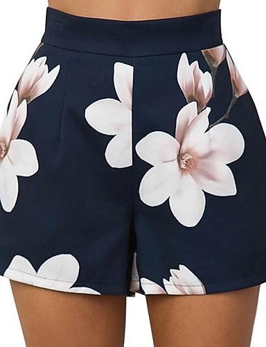 abordables Pantalons Femme-Femme Basique Short Pantalon - Fleur Bleu M L XL