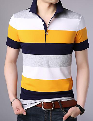 voordelige Herenpolo's-Heren Print Polo Katoen Gestreept Overhemdkraag blauw