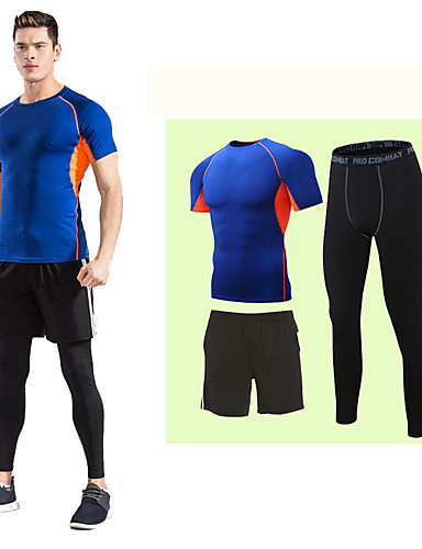 cheap Cycling Clothing-Men's 3pcs Compression Suit Short Sleeve Compression Shorts Base layer Pants Thermal / Warm Breathable Quick Dry Comfortable Grey Green / Black Blue+Orange Winter Road Bike Mountain Bike MTB