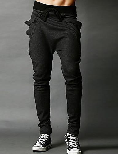 お買い得  メンズパンツ&ショーツ-男性用 ベーシック / ストリートファッション 日常 スポーツ 祝日 チノパン / スウェットパンツ パンツ - ソリッド パッチワーク / ドローストリング コットン ネイビーブルー パープル ライトグレー L XL XXL / 週末