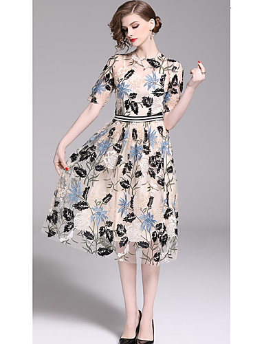 01834e7604e Casual Dress A-Line Jewel Neck Tea Length Tulle Dress with Pattern   Print  by LAN TING Express