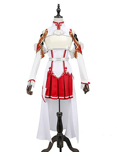cheap Anime Costumes-Inspired by SAO Alicization Yuuki Asuna Anime Cosplay Costumes Cosplay Suits Patchwork Sleeveless Top / Skirt / Sleeves For Men's / Women's