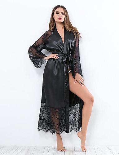 53a3f4fdfcdf Women's Plus Size Super Sexy Robes / Satin & Silk Nightwear - Lace / Bow /  Long Solid Colored White Black Wine XL XXL XXXL / Deep V