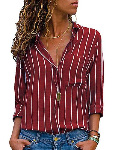 billige Topper til damer-Skjorte Dame - Stripet, Lapper / Trykt mønster Grunnleggende Svart