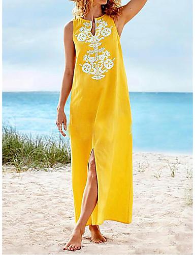 eff6ba046c olcso Női ruhák-női maxi póló ruha arany narancs fekete s m l xl