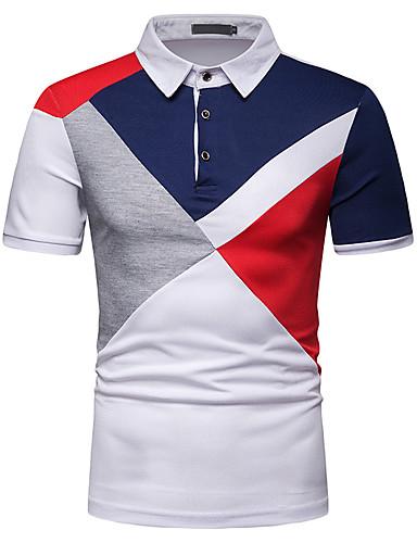 男性用 パッチワーク EU / USサイズ Polo シャツカラー スリム カラーブロック コットン ホワイト L