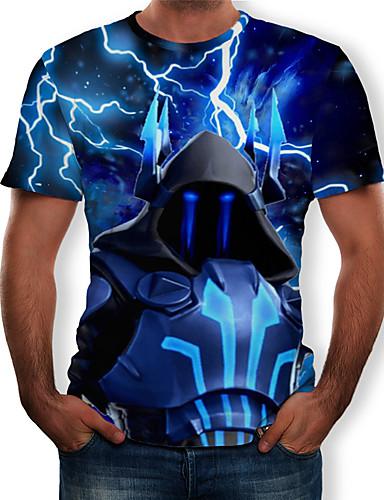 Miesten Pyöreä kaula-aukko Painettu 3D T-paita Uima-allas