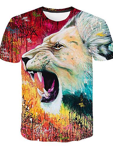 Miesten Pyöreä kaula-aukko Painettu Eläin T-paita Rubiini