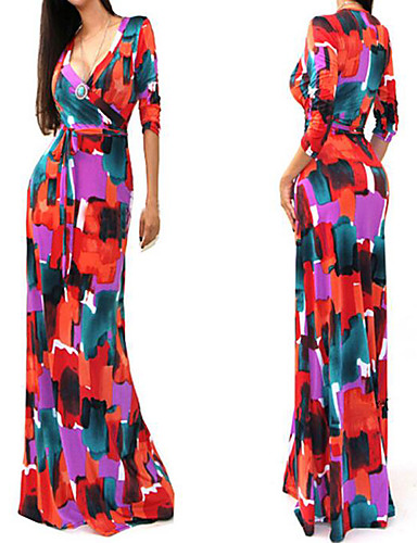 cheap Special Occasion Dresses-Maxi Dress Mermaid / Trumpet Plunging Neck Floor Length Chiffon Dress with Pattern / Print by LAN TING Express