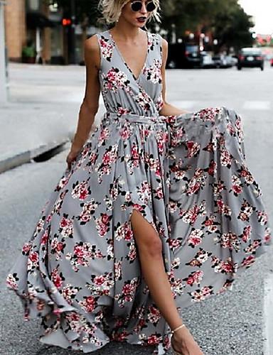 734dda53a46f economico Vestiti maxi-maxi altalena da donna dress deep v blue s m l xl