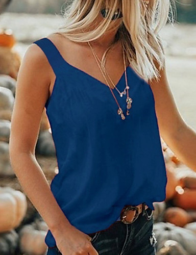billige Dametopper-V-hals Store størrelser T-skjorte Dame - Ensfarget Grå