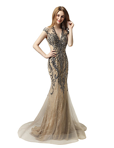 cheap Designers' Originals-Mermaid / Trumpet V Neck Sweep / Brush Train Lace / Tulle Dress with Beading / Sequin by JUDY&JULIA