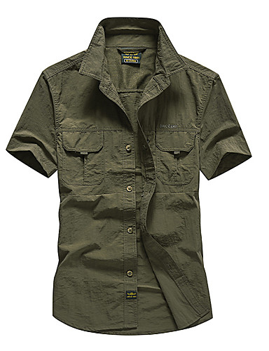 cheap Outdoor Clothing-Men's Hiking Shirt / Button Down Shirts Short Sleeve Outdoor Breathable Quick Dry Sweat-wicking Multi Pocket Shirt Top Summer POLY Army Green Grey Khaki Traveling