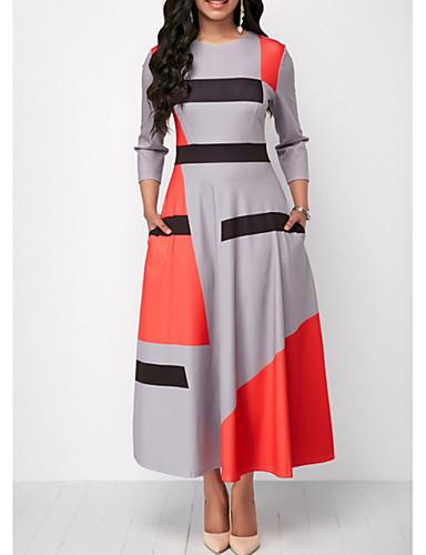 31267dd5d63 abordables Vestidos de Mujer-Mujer Básico Línea A Vestido Bloques Maxi