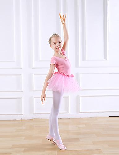 preiswerte Ballettbekleidung-Tanzkleidung für Kinder / Ballett Kleider Mädchen Training / Leistung Baumwolle Schleife(n) / Spitze Kurzarm Normal Kleid
