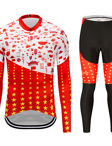 cheap Cycling Clothing-MUBODO Men's Long Sleeve Cycling Jersey with Tights - Red+Black Bike Clothing Suit Breathable Quick Dry Reflective Strips Sports Mesh Mountain Bike MTB Road Bike Cycling Clothing Apparel / Stretchy