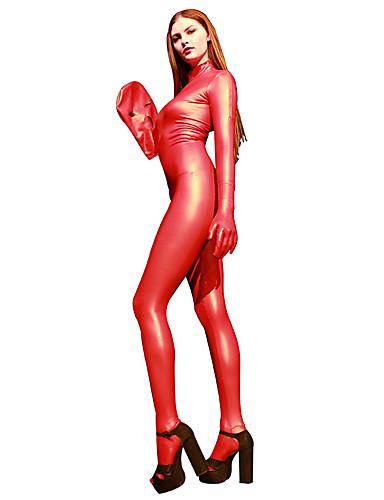 halpa Zentai-Kiiltävät Zentai asut Cosplay-Asut Kissapuku Moottoripyörä tyttö Aikuisten Lateksi Cosplay-asut Cosplay Halloween Naisten Rubiini / Keltainen / Sininen Yhtenäinen Halloween Masquerade / Ihon puku