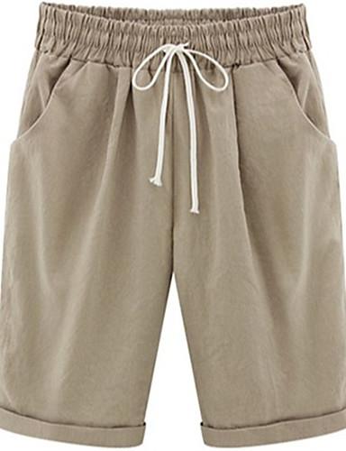 billige Tights til damer-Dame Sporty / Gatemote Store størrelser Shorts Bukser - Ensfarget Dusty Rose Bomull Svart Lyseblå Hvit S M L