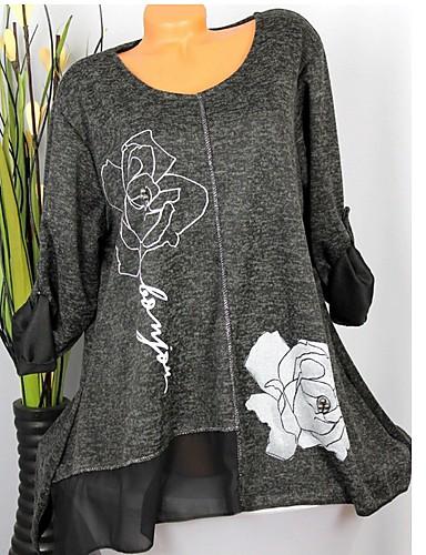 abordables Hauts pour Femme-Tee-shirt Grandes Tailles Femme, Couleur Pleine Imprimé Mince Bleu / Printemps / Eté / Automne / Hiver