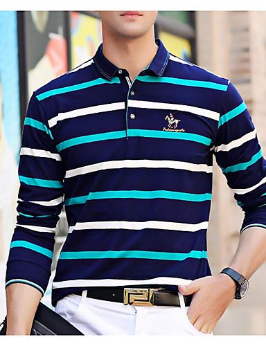 voordelige Herenpolo's-Heren Polo Gestreept Overhemdkraag blauw