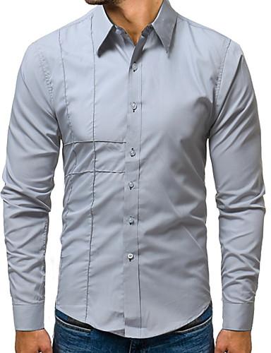 Hombre Camisa Un Color Negro XXL