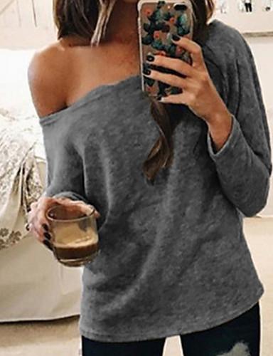 6ee46db8f abordables Camisas y Camisetas para Mujer-Mujer Un Hombro Camisa