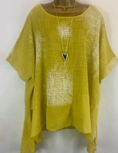 povoljno Ženske majice-Veći konfekcijski brojevi Majica Žene Geometrijski oblici Širok kroj žuta