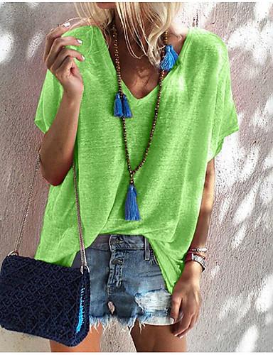 billige Topper til damer-V-hals T-skjorte Dame - Ensfarget Dusty Rose Lysegrønn L