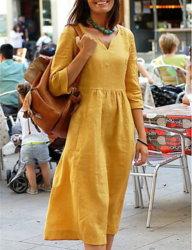 Mujer Básico Línea A Vestido - Retazos, Un Color Midi Escote en Pico