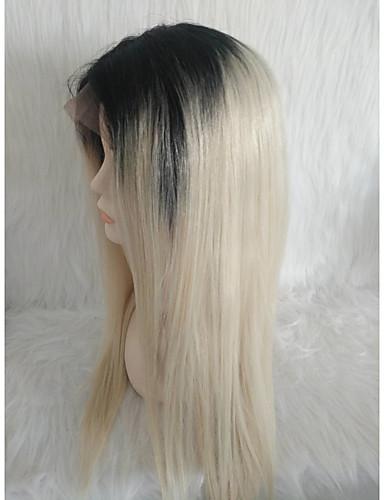 Χαμηλού Κόστους Περούκες από Ανθρώπινη Τρίχα-Φυσικά μαλλιά Δαντέλα Μπροστά Περούκα Μέσο μέρος στυλ Βραζιλιάνικη Ίσιο Πολύχρωμο Περούκα 130% Πυκνότητα μαλλιών Γυναικεία Youth Γυναικεία Μακρύ Άλλα Clytie