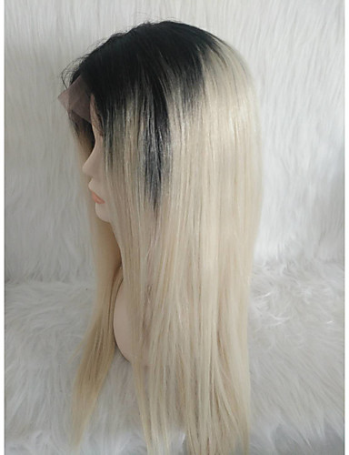 povoljno Perike s ljudskom kosom-Ljudska kosa Lace Front Perika Srednji dio stil Brazilska kosa Ravan kroj Višebojne Perika 130% Gustoća kose Žene Youth Žene Dug Others Clytie
