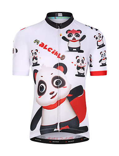 cheap Cycling Clothing-Malciklo Boys' Girls' Short Sleeve Cycling Jersey - White Cartoon Bike Top UV Resistant Breathable Moisture Wicking Sports Terylene Mountain Bike MTB Road Bike Cycling Clothing Apparel / Quick Dry