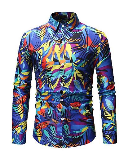 Heren Overhemd Bloemen blauw