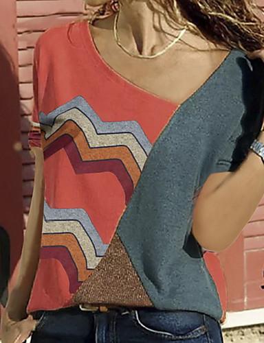 abordables Hauts pour Femme-Tee-shirt Grandes Tailles Femme, Bloc de Couleur Rouge