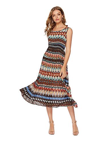 Χαμηλού Κόστους Φορέματα Ξεχωριστών Γεγονότων-Γραμμή Α Με Κόσμημα Κάτω από το γόνατο Ζέρσεϊ Φόρεμα με Σχέδιο / Στάμπα με LAN TING Express
