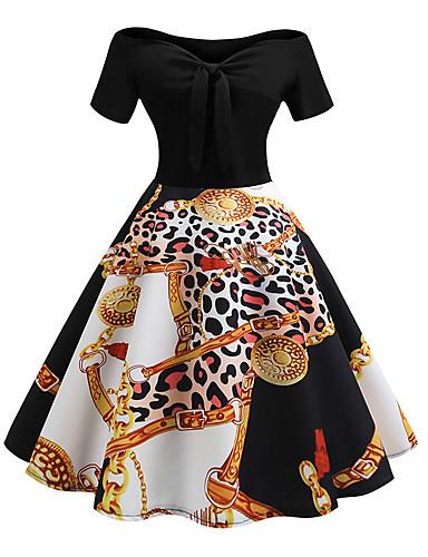 זול שמלות נשים-מעל הברך שרוכים לכל האורך טלאים דפוס, פרחוני - שמלה סווינג וינטאג' בגדי ריקוד נשים