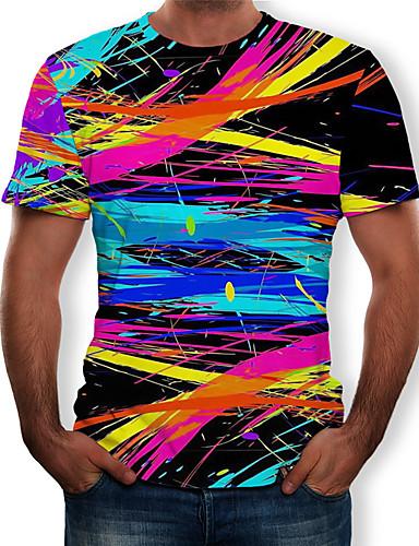 billige Regnbue-Rund hals Herre - Regnbue Trykt mønster T-shirt Sort XL / Kortærmet