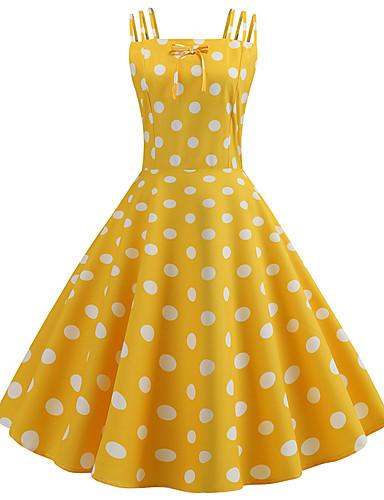 2562cf3305b Women s Vintage 1950s A Line Dress - Polka Dot Print Summer Black Yellow  Light Blue L XL XXL