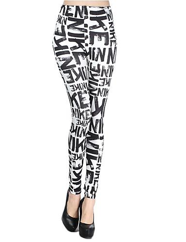 Kadın's Podstawowy Legging - Harf, Desen Yüksek Bel Beyaz Tek Boyut / Dar