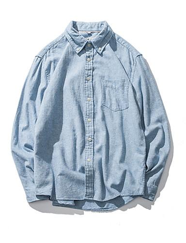 100% Vero Camicia Per Uomo Tinta Unita Blu Xl #07242593