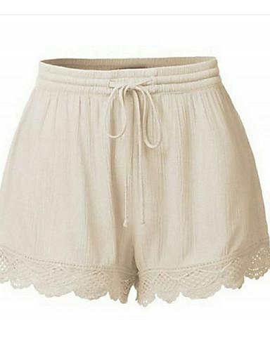 billige Tights til damer-Dame Grunnleggende Store størrelser Shorts Bukser - Ensfarget Blonde Høy Midje Svart Oransje Rød XXXL XXXXL XXXXXL