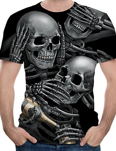 voordelige Heren T-shirts & tanktops-Heren Print EU / VS maat - T-shirt Kleurenblok / 3D / Doodskoppen Ronde hals Zwart