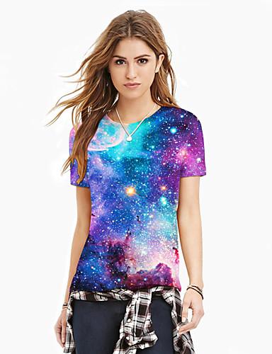 billige Dametopper-T-skjorte Dame - Galakse / 3D / Grafisk, Trykt mønster Lilla XL