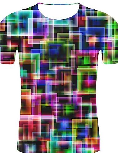 voordelige Heren T-shirts & tanktops-Heren Rock / overdreven Print Grote maten - T-shirt Katoen Polka dot / 3D / Grafisch Ronde hals Regenboog