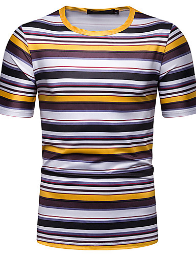 cheap Men's Clothing-Men's Daily Casual Basic / Street chic Cotton T-shirt - Striped Print Round Neck Yellow / Short Sleeve