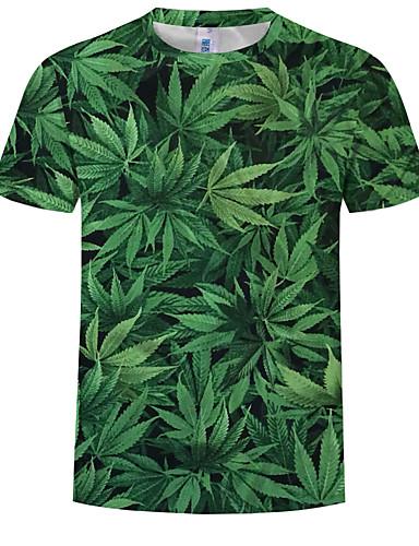 cheap Men's Tees & Tank Tops-Men's Plus Size Cotton T-shirt - Floral Print Round Neck Green XXXXL
