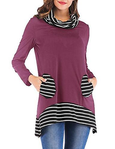 abordables Hauts pour Femme-Tee-shirt Grandes Tailles Femme, Couleur Pleine Plissé / Mosaïque Elégant Noir